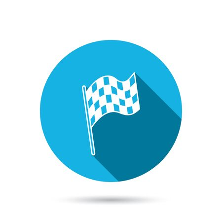 winning location: Finish flag icon. Start race sign. Blue flat circle button with shadow. Vector Illustration