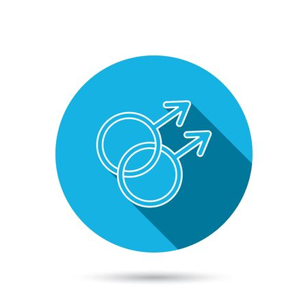 Gay couple icon. Homosexual sign. Blue flat circle button with shadow. Vector