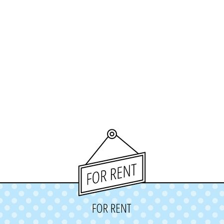 for rent: For rent icon. Advertising banner tag sign. Circles seamless pattern. Background with icon. Vector Illustration