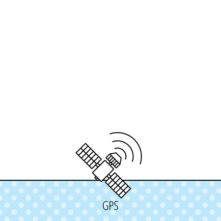 gps device: GPS icon. Satellite navigation sign. Circles seamless pattern. Background with icon. Vector