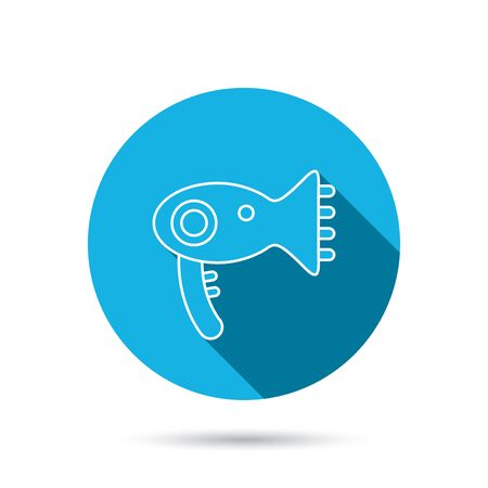air diffuser: Hairdryer icon. Electronic blowdryer sign. Hairdresser equipment symbol. Blue flat circle button with shadow. Vector