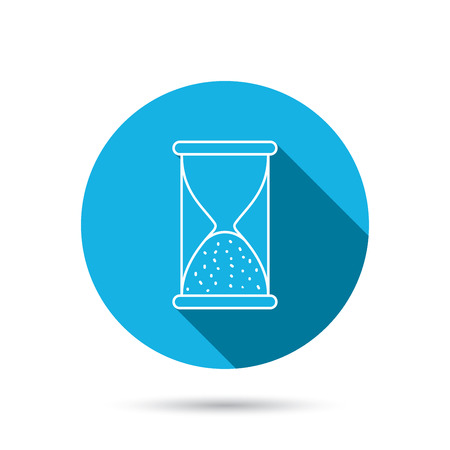 ends: Hourglass icon. Sand end time sign. Hour ends symbol. Blue flat circle button with shadow. Vector