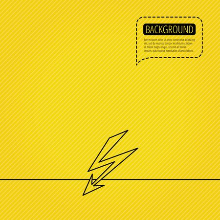 lightening: Lightening bolt icon. Power supply sign. Electricity symbol. Speech bubble of dotted line. Orange background. Vector Illustration