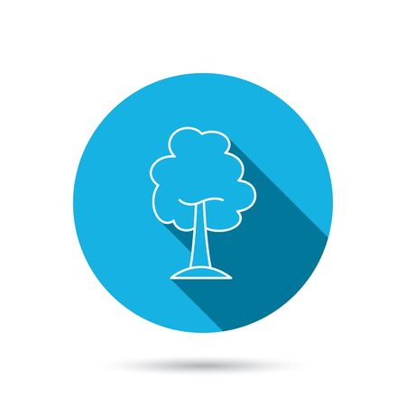 coma: Maple tree icon. Forest wood sign. Nature environment symbol. Blue flat circle button with shadow. Vector Illustration
