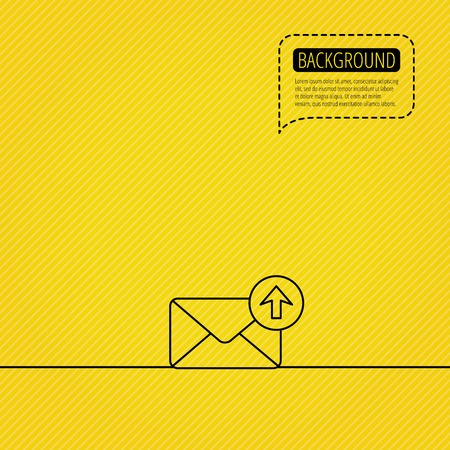 outbox: Mail outbox icon. Email message sign. Upload arrow symbol. Speech bubble of dotted line. Orange background. Vector