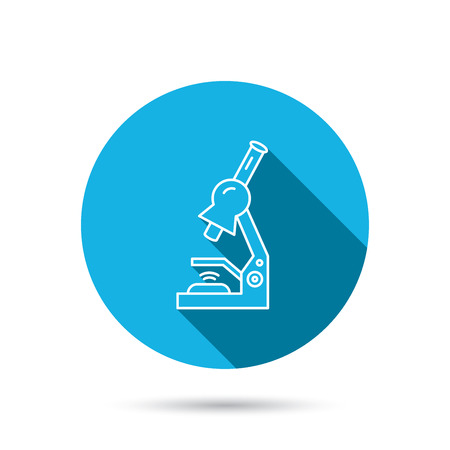 criminology: Microscope icon. Medical laboratory equipment sign. Pathology or scientific symbol. Blue flat circle button with shadow. Vector