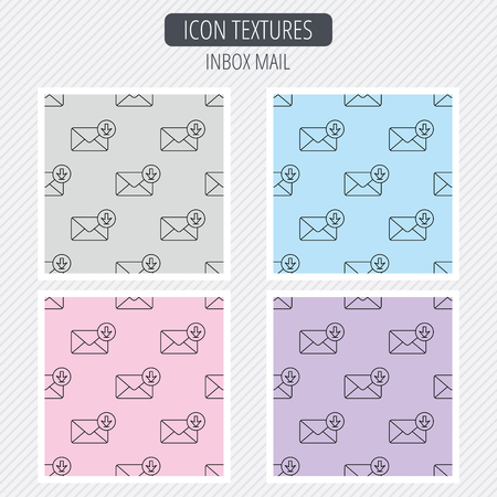 inbox icon: Mail inbox icon. Email message sign. Download arrow symbol. Diagonal lines texture. Seamless patterns set. Vector