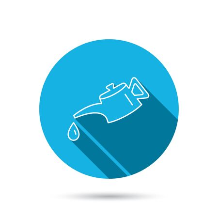 motor oil: Motor oil icon. Fuel can with drop sign. Blue flat circle button with shadow. Vector Illustration