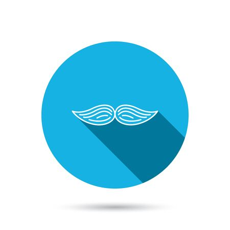 gent: Mustache icon. Hipster symbol. Gentleman sign. Blue flat circle button with shadow. Vector Stock Illustratie
