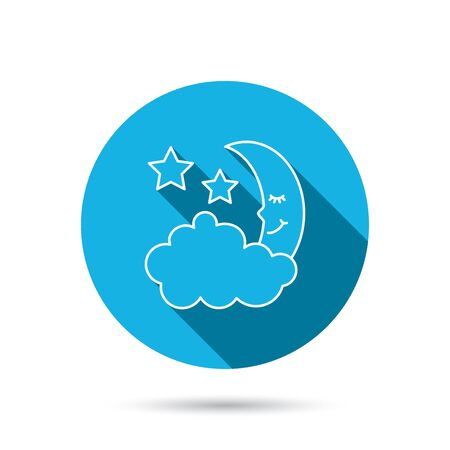 moonbeam: Night or sleep icon. Moon and stars sign. Crescent astronomy symbol. Blue flat circle button with shadow. Vector Illustration