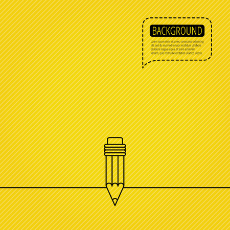 Pencil icon. Drawing tool sign. Speech bubble of dotted line. Orange background. Vector