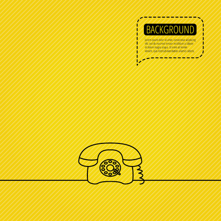antiquated: Retro phone icon. Old telephone sign. Speech bubble of dotted line. Orange background. Vector Illustration