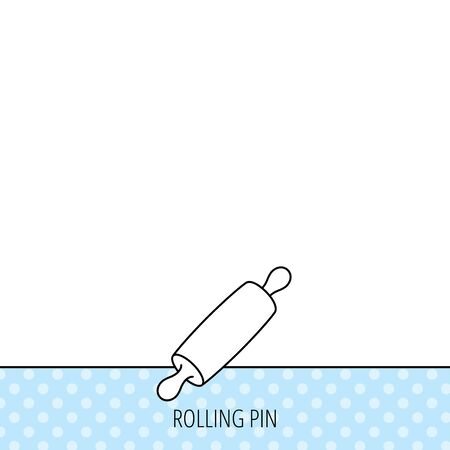 Rolling pin icon. Kitchen baker roller sign. Circles seamless pattern. Background with icon. Vector Illustration