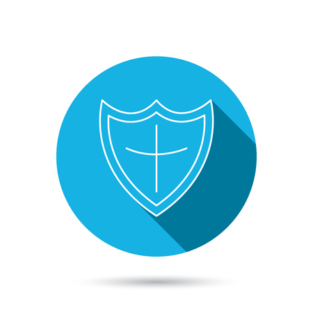 honour guard: Shield icon. Protection sign. Royal defence symbol. Blue flat circle button with shadow. Vector