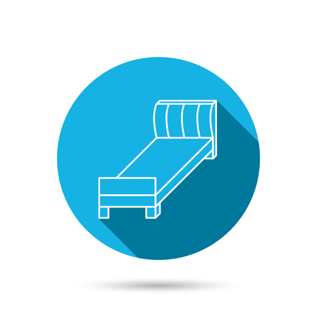single rooms: Single bed icon. Bedroom furniture sign. Blue flat circle button with shadow. Vector