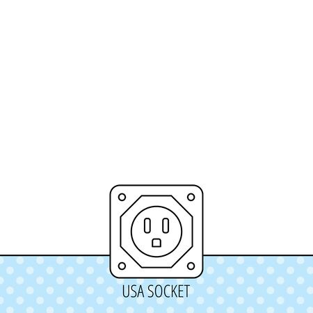 adapter: USA socket icon. Electricity power adapter sign. Circles seamless pattern. Background with icon. Vector