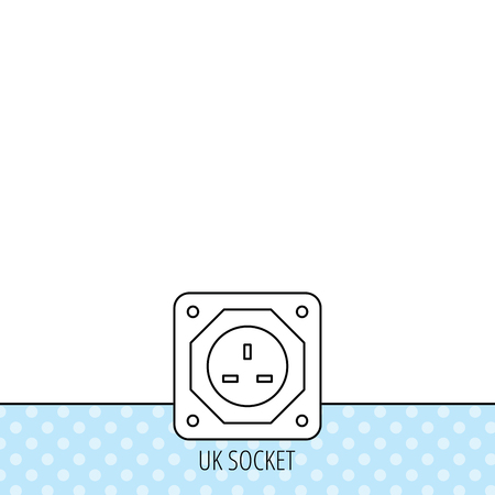 adapter: UK socket icon. Electricity power adapter sign. Circles seamless pattern. Background with icon. Vector