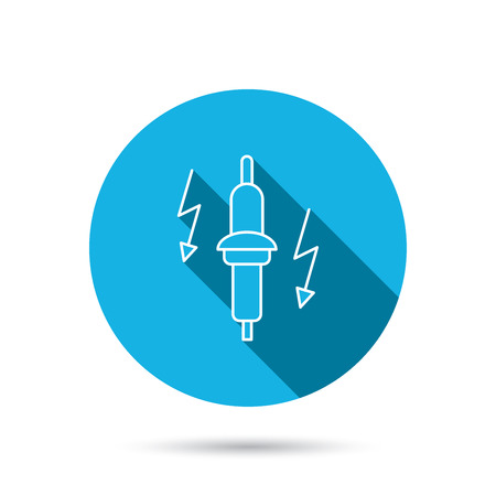 spark plug: Spark plug icon. Car electric part sign. Blue flat circle button with shadow. Vector
