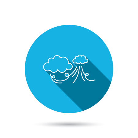 the tempest: Wind icon. Cloud with storm sign. Strong wind or tempest symbol. Blue flat circle button with shadow. Vector