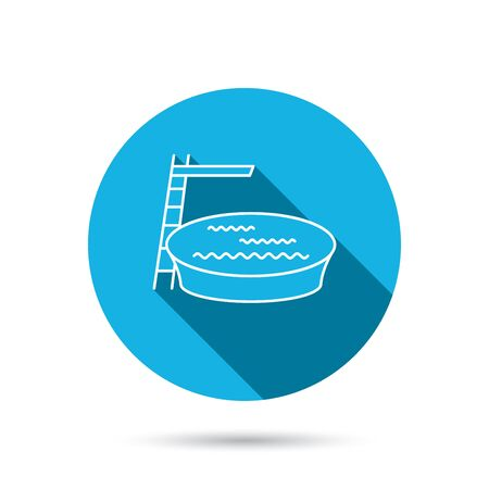 jumping into water: Swimming pool icon. Jumping into water sign. Blue flat circle button with shadow. Vector