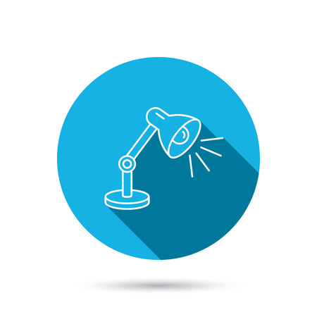 desk light: Table lamp icon. Desk light sign. Blue flat circle button with shadow. Vector Illustration
