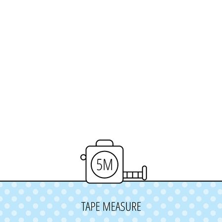 centimetre: Tape measurement icon. Roll ruler sign. Circles seamless pattern. Background with icon. Vector