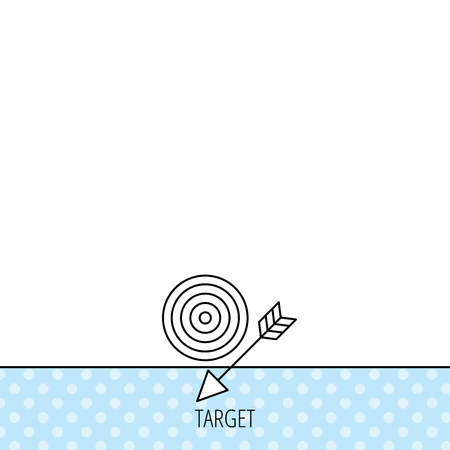intent: Target with arrow icon. Dart aim sign. Circles seamless pattern. Background with icon. Vector Illustration