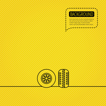 tread: Tire tread icon. Car wheel sign. Speech bubble of dotted line. Orange background. Vector Illustration