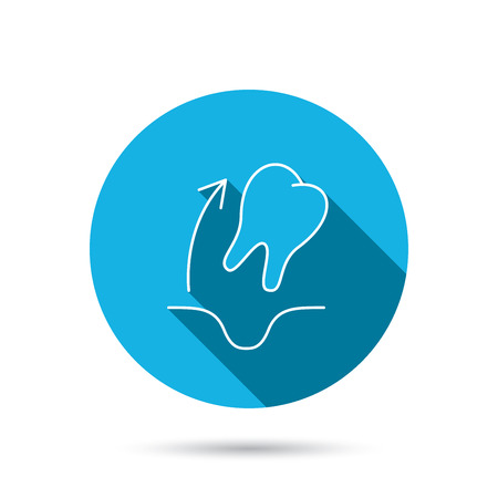 paradontosis: Tooth extraction icon. Dental paradontosis sign. Blue flat circle button with shadow. Vector