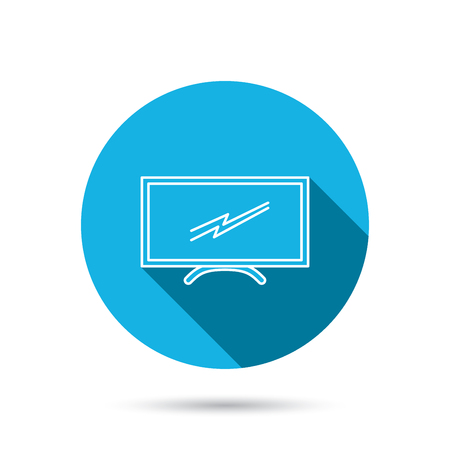 lcd display: Lcd tv icon. Led monitor sign. Widescreen display symbol. Blue flat circle button with shadow. Vector Illustration