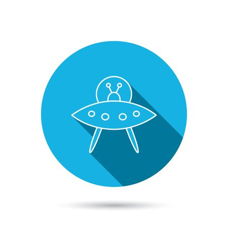 unknown: UFO icon. Unknown flying object sign. Martians symbol. Blue flat circle button with shadow. Vector