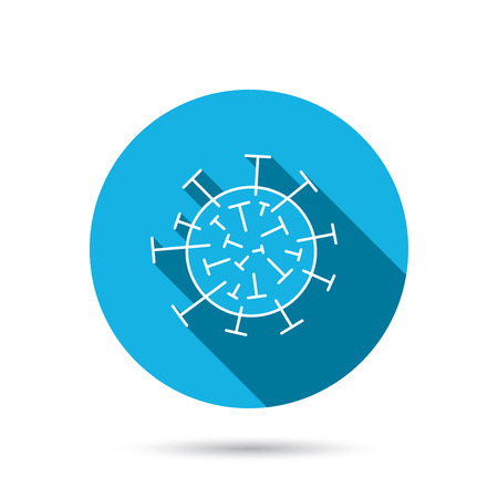 virus icon: Virus icon. Molecular cell sign. Biology organism symbol. Blue flat circle button with shadow. Vector Illustration