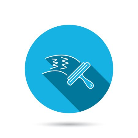 cleanness: Washing windows icon. Cleaning sign. Blue flat circle button with shadow. Vector