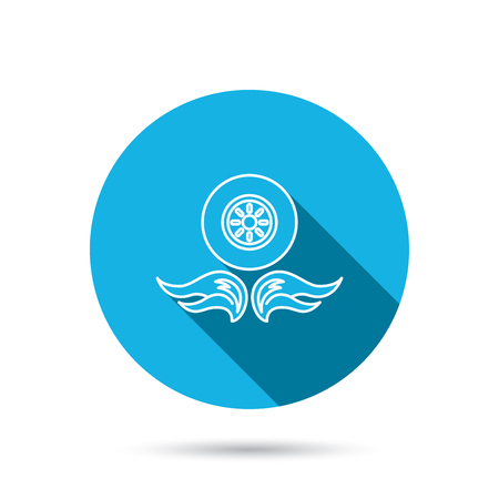 blue flame: Car wheel icon. Fire flame symbol. Blue flat circle button with shadow. Vector Illustration