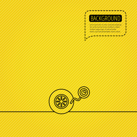 flaring: Wheel pressure icon. Tire service sign. Speech bubble of dotted line. Orange background. Vector Illustration