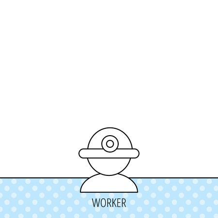 Worker icon. Engineering helmet sign. Circles seamless pattern. Background with icon. Vector