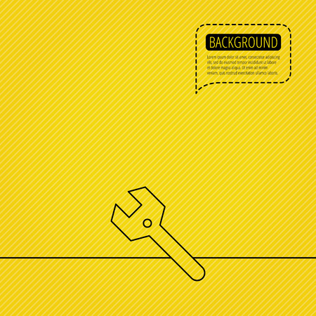orange yellow: Wrench key icon. Repair fix tool sign. Speech bubble of dotted line. Orange background. Vector Illustration