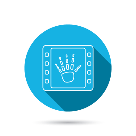 radiological: Hand X-ray icon. Human skeleton sign. Blue flat circle button with shadow. Vector