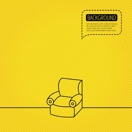comfortable: Armchair icon. Comfortable furniture sign. Speech bubble of dotted line. Orange background. Vector