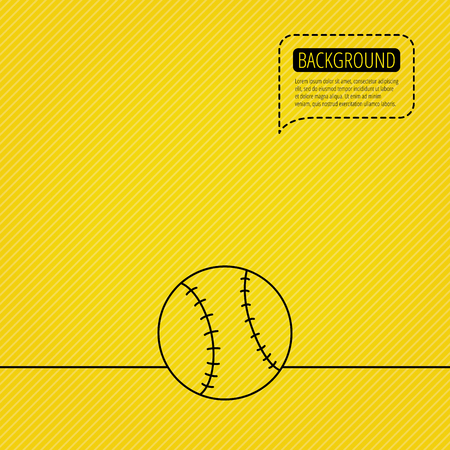 team game: Baseball equipment icon. Sport ball sign. Team game symbol. Speech bubble of dotted line. Orange background. Vector Illustration