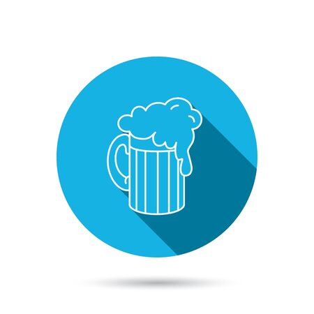 draughts: Beer icon. Glass of alcohol drink sign. Brewery symbol. Blue flat circle button with shadow. Vector