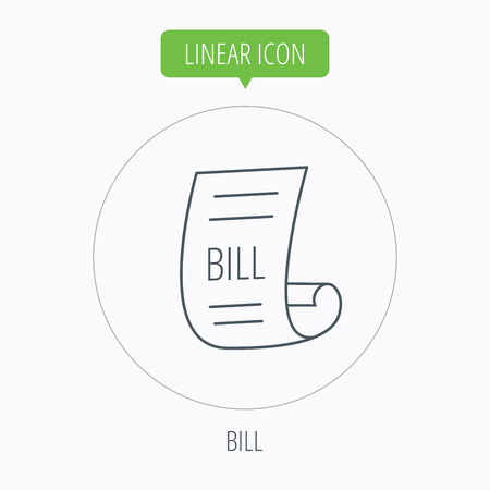 pay bill: Bill icon. Pay document sign. Business invoice or receipt symbol. Linear outline circle button. Vector Illustration