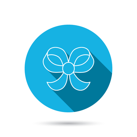 bowknot: Bow icon. Gift bow-knot sign. Blue flat circle button with shadow. Vector