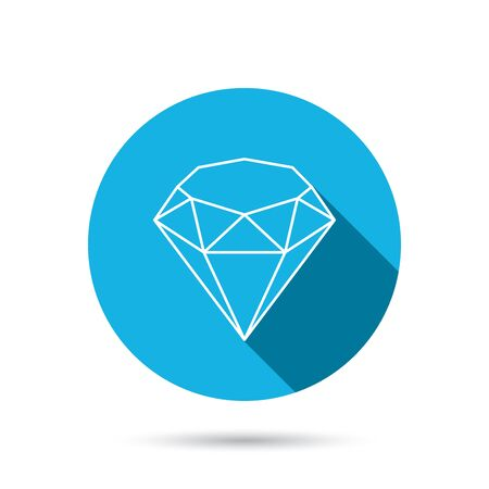 gemstone: Brilliant icon. Diamond gemstone sign. Blue flat circle button with shadow. Vector Illustration
