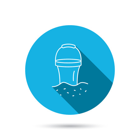 beach game: Bucket in sand icon. Trash bin sign. Child beach game symbol. Blue flat circle button with shadow. Vector Illustration