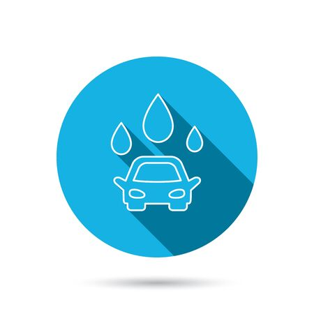 operated: Car wash icon. Cleaning station with water drops sign. Blue flat circle button with shadow. Vector Illustration