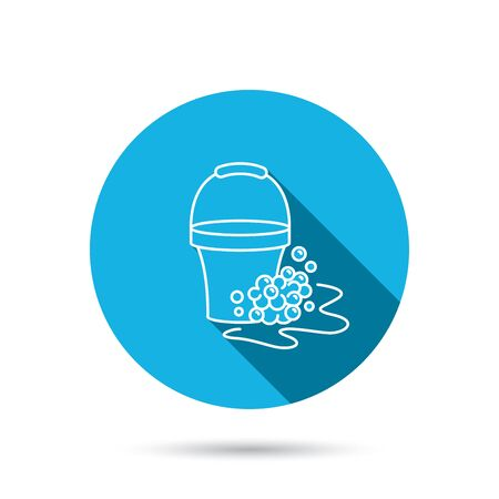 soapy: Soapy cleaning icon. Bucket with foam and bubbles sign. Blue flat circle button with shadow. Vector