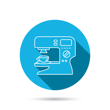 sign maker: Coffee maker icon. Hot drink machine sign. Blue flat circle button with shadow. Vector