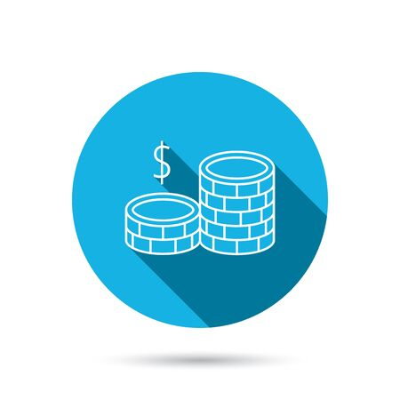 cash money: Dollar coins icon. Cash money sign. Bank finance symbol. Blue flat circle button with shadow. Vector Illustration