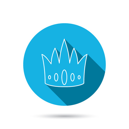 vip symbol: Crown icon. Royal king hat sign. VIP symbol. Blue flat circle button with shadow. Vector